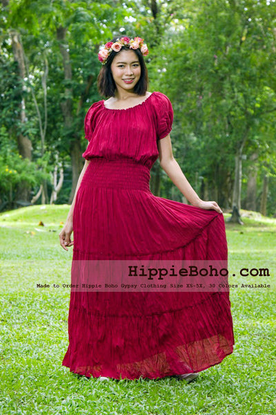 No.022  - Bohemian Red Dress, Plus Size Hippie Dress, Gypsy Dress, Sundresses, Hippie Dress, Plus Size Dress, Womens Maxi Dresses, Boho Maxi Dress