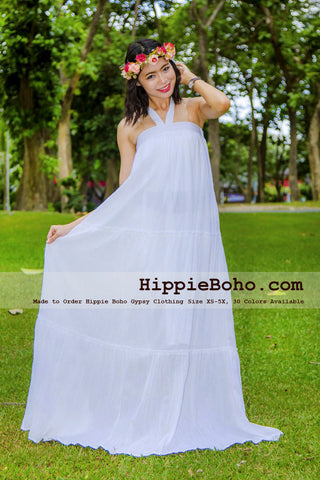 No.381 - Size XS-5X Hippie Boho Clothing Gypsy White Plus Size Strap Tiered Maxi Dress, Maxi Long White Dress