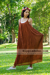 No.0164 - XS-7X Hippie Boho Clothing Gypsy Brick Maxi Plus Size Strap Dress Maxi Long Dress
