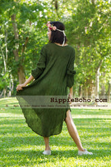 No.002  - Size XS-5X Hippie Boho Bohemian Gypsy Olive Green Long Sleeve Tunic Plus Size Dress Lightweight Cotton