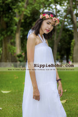 No.381 - Size XS-7X Hippie Boho Clothing Gypsy White Plus Size Strap Tiered Maxi Dress, Maxi Long White Dress