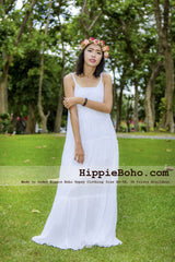 No.383 - Size XS-7X Hippie Boho Clothing Gypsy White Cotton Tiered Maxi Plus Size Strap Dress, Maxi Long White Dress