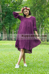 No.002  - XS-5X Hippie Boho Bohemian Gypsy Purple Long Sleeve Tunic Plus Size Maternity Dress Lightweight Cotton