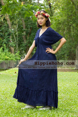 No.016  - Size XS-5X Hippie Boho Bohemian Navy Gypsy Plus Size Caftan Kimono Maxi Dresses Women's Plus Size Clothing