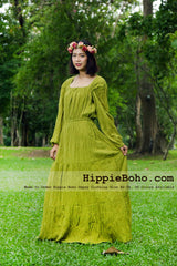 No.452 - Size  XS,S,M,L,1X,2X,3X,4X,5X,6X and 7X Hippie Boho Gypsy Olive Plus Size Peasant Cotton Long Sleeve Maxi Dress