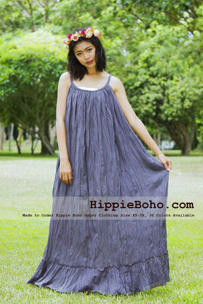 NO.162 - SIZE XS-5X GRAY BOHEMIAN STRAP COTTON MAXI LONG DRESS HANDMADE WOMEN'S SMALL & PLUS SIZE CLOTHING 30 COLORS AVAILABLE