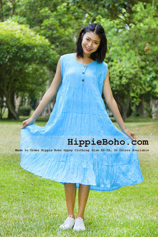 No.075 - Size XS-5X Hippie Boho Clothing Gypsy Aqua Plus Size Sleeveless Peasant Tiered Mini Dress