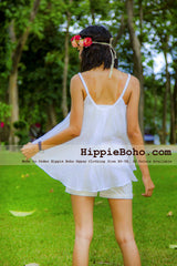 No.434  - XS-5X  Plus Size White Strap Asymmetric Swing Hem Music Festival Hippie Gypsy Bohemian Summer Tops Vest Women's Vest Hippie Boho Gypsy Style