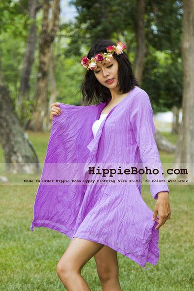 No.389  - Plus Size Cotton Lilac Cardigan Long Sleeve Bohemian Summer Clothing Women's Top Hippie Boho Gypsy Style Asymmetric Hem