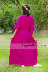 No.329  - Size XS-5X Hippie Boho Caftan Hot Pink Wide Sleeves Maxi Dresses Women's Plus Size Clothing Bohemian Long Dress