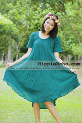 No.003 - XS-7X Green Gauze Cotton Boho Gypsy Tunic Plus Size Maternity Dress