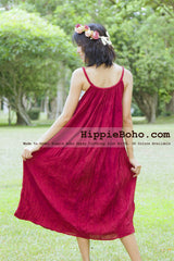 No.015 - Size XS-7X Hippie Boho Clothing Gypsy Crimson Maxi Plus Size Strap Dress Maxi Long Dress