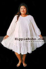 No.046 - Size XS-7X Plus Size Curvy Women's Dress Hippie Gypsy Boho Style Dress  Long Sleeve  White Top Tunic