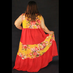 No.005- XS-7X Hippie Boho Bohemian Yellow Floral Printed and Red Cotton Maxi Dresses Women's Plus Size Clothing