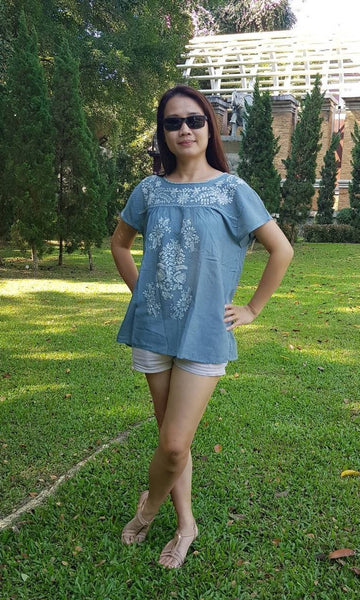 No.008 Handmade Light Gray Cotton with White Embroidered Top Cap Sleeves Blouse for Boho Gypsy Hippie Style Outfit