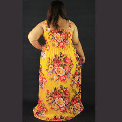 No.012- XS-7X Hippie Boho Bohemian Yellow Floral Printed Maxi Dresses Women's Plus Size Clothing