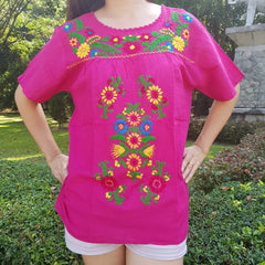No.016 Handmade Pink Cotton with Multi Flower Embroidered Top Short Sleeves Blouse for Boho Gypsy Hippie Style Outfit