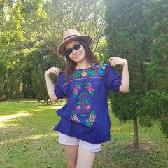 No.019 Handmade Navy Blue Cotton with Multi Flower Embroidered Top Short Sleeves Blouse for Boho Gypsy Hippie Style Outfit