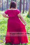 No.022  - Plus size Hippie Clothes, Bohemian Red Dress, Plus Size Hippie Dress, Gypsy Dress, Sundresses, Hippie Dress, Plus Size Dress, Womens Maxi Dresses, Boho Maxi Dress
