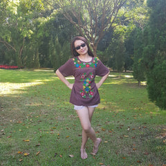 No.022 Handmade Brown Cotton with Multi Flower Embroidered Top Short Sleeves Blouse for Boho Gypsy Hippie Style Outfit