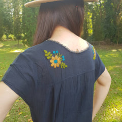 No.027 Handmade Black Cotton with Multi Color Maxican Embroidered Top Cap Sleeves Blouse for Boho Gypsy Hippie Style Outfit