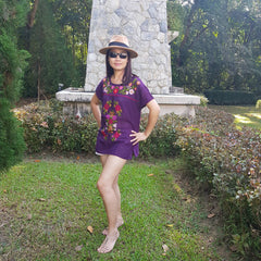 No.029 Handmade Purple Cotton with Multi Color Maxican Embroidered Top Cap Sleeves Blouse for Boho Gypsy Hippie Style Outfit