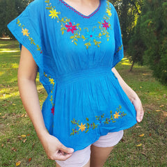 No.033 Handmade Teal Cotton with Multi Flower Embroidered Top Caftan Butterfly Sleeves Blouse for Boho Gypsy Hippie Style Outfit