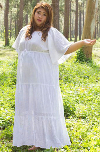 No.035- Bell Sleeve Tiered Maxi Dress for Curvy Plus Size Women's Gauze Cotton Handmade Hippie Boho Gypsy Bohemian Bell Wide Sleeve White Maxi Dress Plus Size Women's Long Dress Size XS,S,M,L,1X,2X,3X,4X and 5X