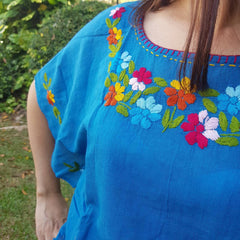 No.036 Handmade Teal Cotton with Multi Flower Embroidered Top Caftan Butterfly Sleeves Blouse for Boho Gypsy Hippie Style Outfit
