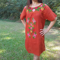 No.037 Handmade Brick Cotton with Multi Color Maxican Embroidered Short Sleeves Tunic Dress Sundress Mini Dress for Boho Gypsy Hippie Style Outfit