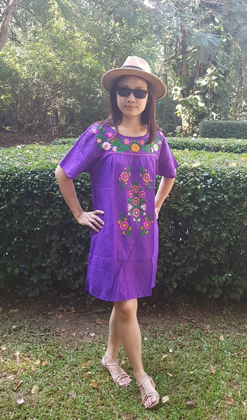No.038 Handmade Lavender Violet Cotton with Multi Color Maxican Embroidered Short Sleeves Tunic Dress Sundress Mini Dress for Boho Gypsy Hippie Style Outfit