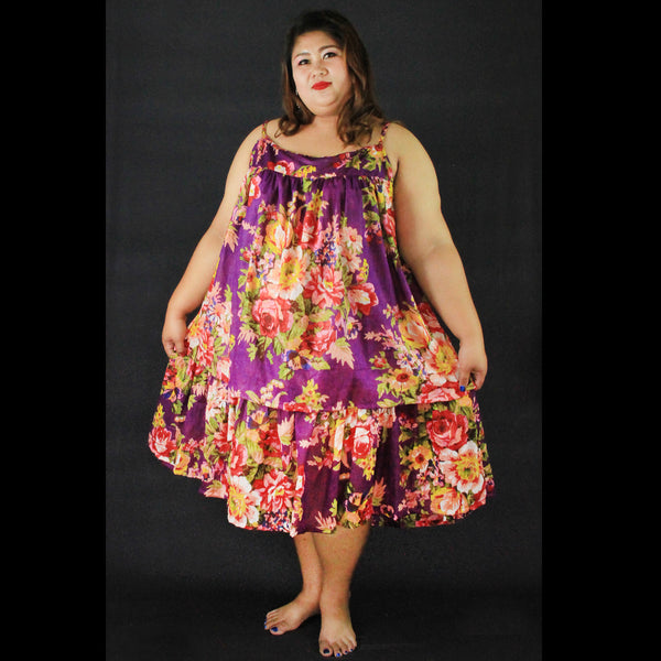 No.053- XS-7X Hippie Boho Bohemian Purple Floral Printed Mini Dresses Women's Plus Size Clothing