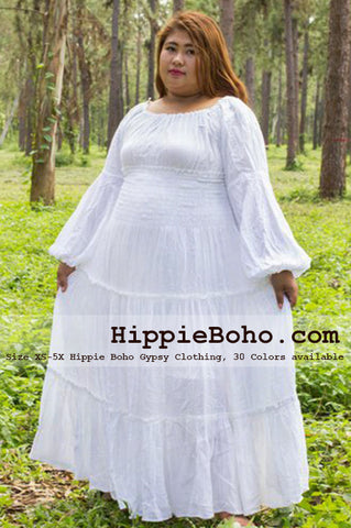 No.043 - Size XS-7X Beach Weddding Dress Curvy White Renaissance Plus Size Women's Clothing Bohemian Peasant Balloon Long Sleeve Tiered Maxi Dress Boho Gypsy Hippie Style