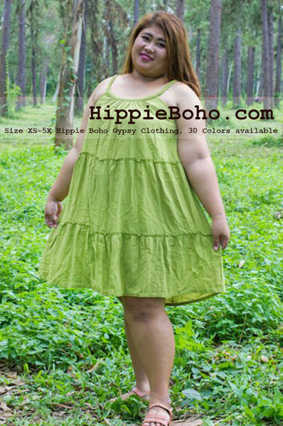 No.045 - Curvy Fashion Size XS-5X Handmade Hippie Boho Clothing Gypsy Green Mini Plus Size Strap Dress Women's Clothing