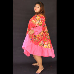 No.046 - XS-7X Hippie Boho Bohemian Hot Pink Floral Printed Swing Dresses Women's Plus Size Clothing