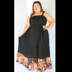 No.052- XS-7X Hippie Boho Bohemian Black Floral Printed and Black Cotton Maxi Dresses Women's Plus Size Clothing