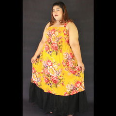 No.052- XS-7X Hippie Boho Bohemian Yellow Floral Printed and Black Cotton Maxi Dresses Women's Plus Size Clothing