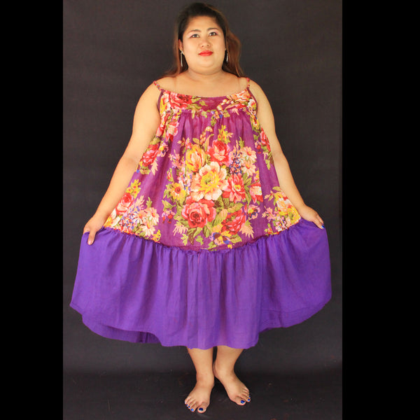 No.053- XS-7X Hippie Boho Bohemian Purple Floral Printed and Purple Cotton Mini Dresses Women's Plus Size Clothing