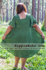 No.054 - Plus Size Curvy XS-5X Hippie Boho Bohemian Gypsy Olive Green Peasant Tunic Plus Size Maternity Dress Lightweight Cotton