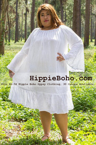 No.057 - Gift for Plus Size Curvy Womens Size XS-5X Long Sleeve White Gauze Cotton Peasant Top Tunic Dress Plus Size Curve Women's Clothing Hippie Gypsy Boho Style