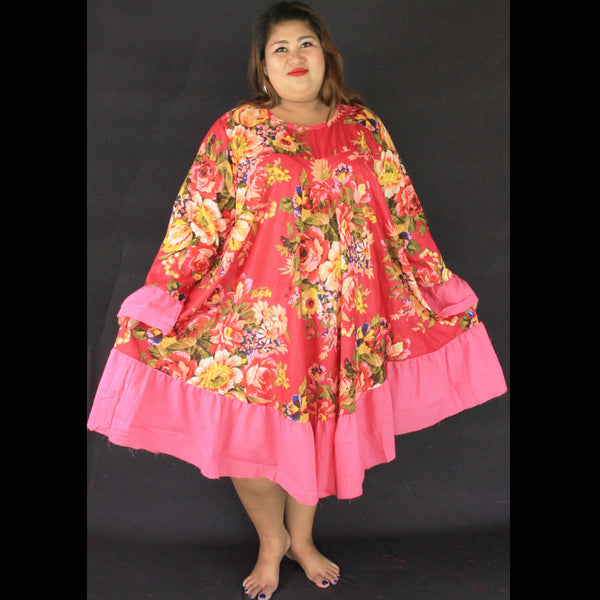 No.072- XS-7X Hippie Boho Bohemian Hot Pink Floral Printed Swing Dresses Women's Plus Size Clothing