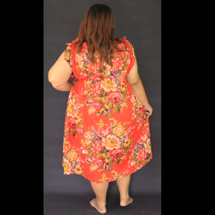 No.082- XS-7X Hippie Boho Bohemian Orange Floral Printed Summer Sundresses Women's Plus Size Clothing