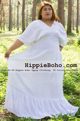 No.090  - Plus Size Curvy Wedding Hippie Bohemian Chic Dress Size XS-5X Boho Caftan White Pagan Greek Maxi Dresses Women's Plus Size Clothing Bohemian Long Dress