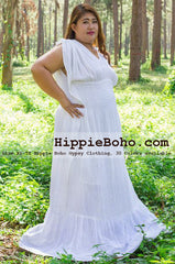 No.090 - Size XS-7X Plus Size Curvy Wedding Dress Hippie Bohemian Chic Maxi Dress
