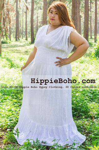 No.090  - Plus Size Curvy Wedding Hippie Bohemian Chic Dress Size XS-7X Boho Caftan White Pagan Greek Maxi Dresses Women's Plus Size Clothing Bohemian Long Dress