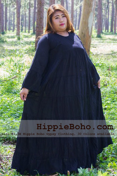 No.103 - Plus Size Curvy Hippie Gypsy Dress XS-5X Black Plus Size Women's Clothing Bohemian Peasant Bell Long Sleeve Tiered Maxi Dress Boho Gypsy Hippie Style