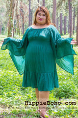 No.105  - Big Size Curvy Girls Plus Size Outfits XS-5X Forest Green Hippie Boho Gypsy Wide Sleeve Unique Dresses Mini Sundress Women's Plus Size Clothing