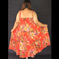 No.116- XS-7X Hippie Boho Bohemian Orange Floral Printed Tiered Maxi Dresses Women's Plus Size Clothing