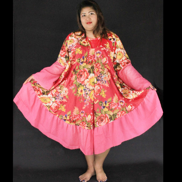No.130 - XS-7X Hippie Boho Bohemian Hot Pink Floral Printed Swing Dresses Women's Plus Size Clothing