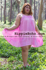 No.152 - Plus Size Curvy Size XS-7X Hippie Boho Clothing Gypsy Pink Plus Size Strap Mini Dress